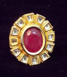 Buy Kundan, Colored Stone Ring, Adjustable Ring online