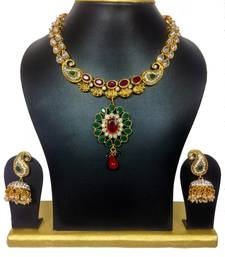 Buy Vijayanthi Traditional Designer High Gold Polish Set in Maroon Green necklace-set online