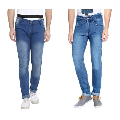 Urbano Fashion Men's Light Blue Slim Fit Stretch Jeans - Pack of 2