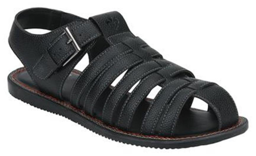 Bond Street By Red Tape Men Black Buckle Sandals-RSP0481 BLK-10