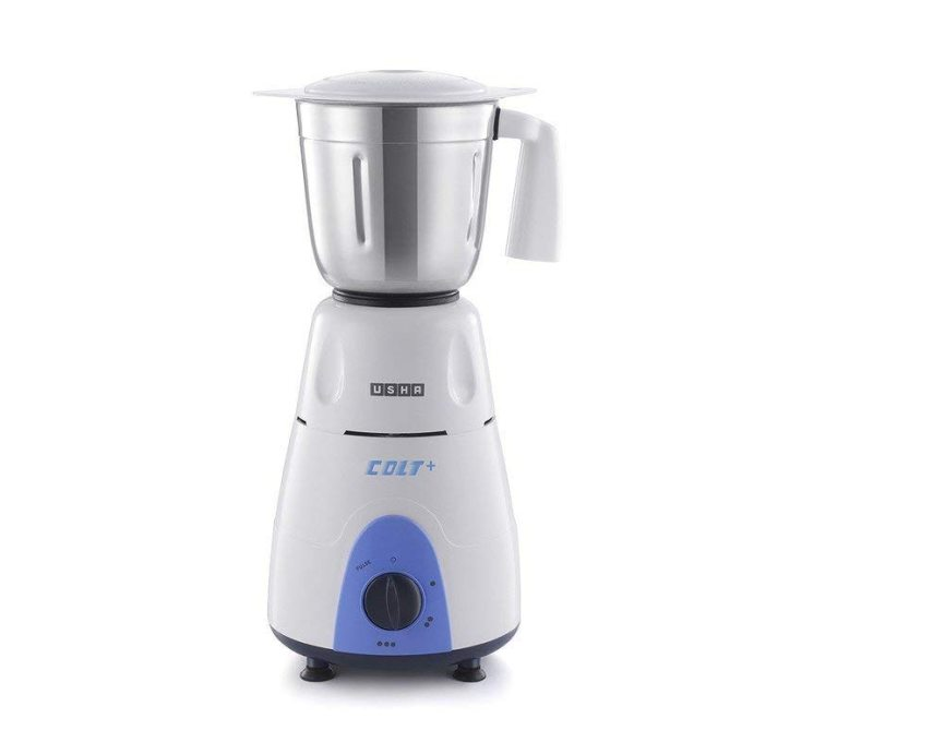 Usha Colt Plus MG 3772 750-Watt Copper Motor Mixer Grinder with 3 Jars (White/Blue)
