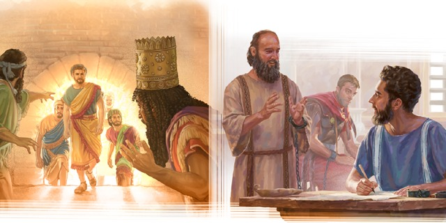 Sadrac, Mesac y Abednego salen ilesos del fuego; el apóstol Pablo le dicta una carta a Timoteo mientras está en arresto domiciliario