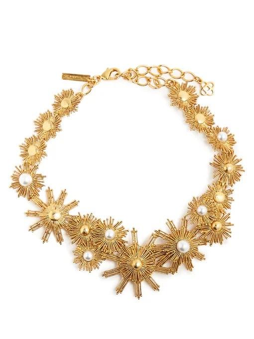 Oscar De La Renta Faux-pearl embellished sun-star necklace