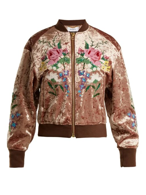 Muveil Floral cross-stitch velvet bomber jacket