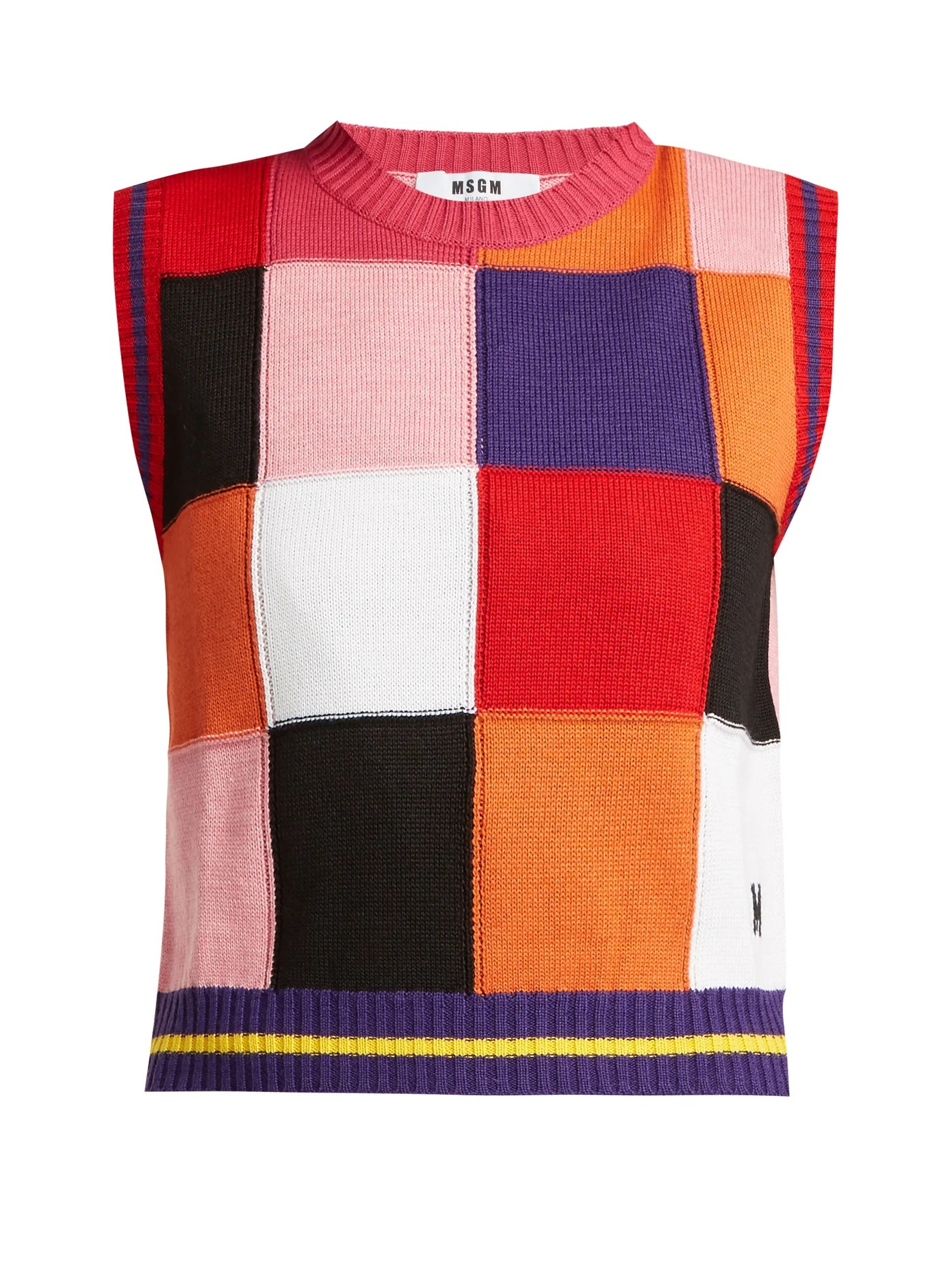 multicoloured patchwork knit sweater