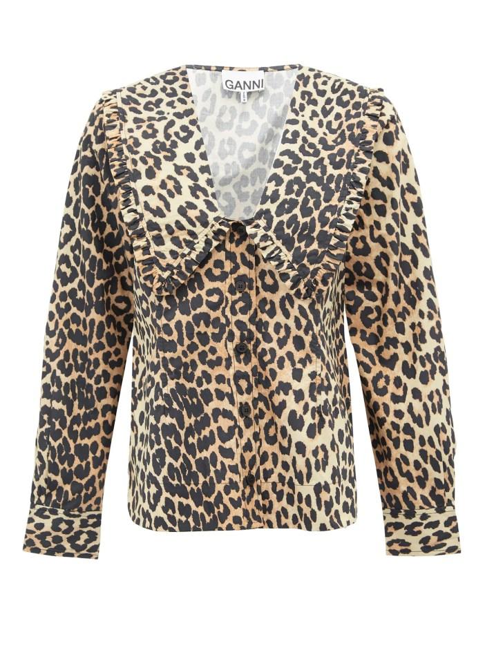 Ganni leopard print blouse with ruffled collar