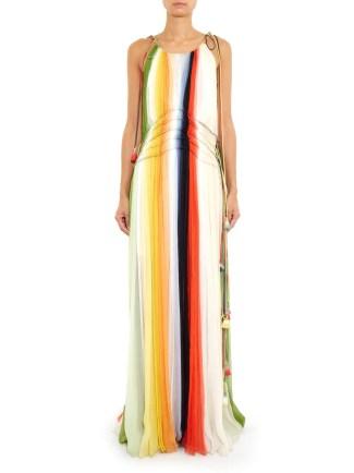 Beach Outfit - CHLOÉ Rainbow gathered silk-chiffon dress