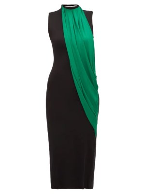 Marina Moscone - Contrast-panel High-neck Dress - Womens - Black Multi
