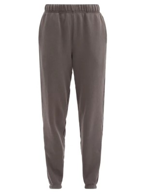 Les Tien - Brushed-back Cotton Track Pants - Womens - Dark Grey