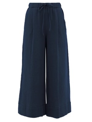 Loup Charmant - Olympia Seersucker Palazzo Trousers - Womens - Navy