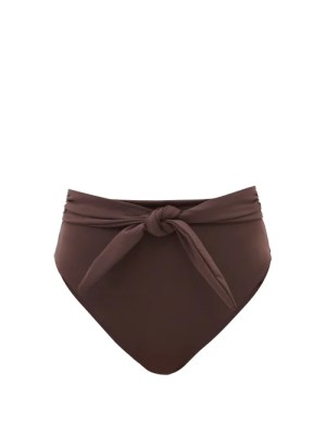 Mara Hoffman - Goldie High-rise Recycled-fibre Bikini Briefs - Womens - Dark Brown