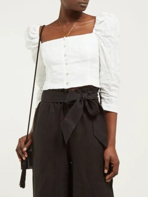 Mara Hoffman Isadora seersucker linen-blend cropped top