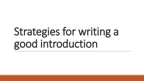 Strategies for writing good introduction