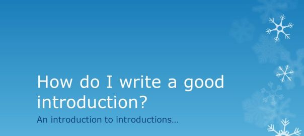 Writing good introduction