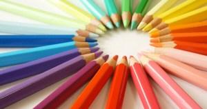 放射線状の色鉛筆
