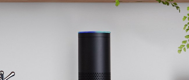 photo of amazon echo in a bookshelf