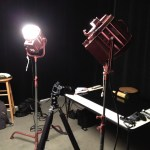 Lights in a studio for a photo shoot.