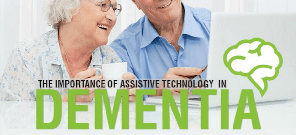 an elderly woman and man looking at a computer screen and smiling. Image caption: the importance of assistive technology in dementia. Next line: