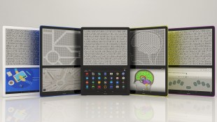 photo of five blitabs placed side by side. First shows an animated graphic in the bottom screen, second shows a map, third shows menu of apps, fourth shows an image of the human brain, and fifth shows an input screen where text can be entered using on screen braille keyboard. Content displayed on the bottom screen is shown in braille on the top screen of each Blitab.