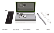 photo showing the starter kit that consists of the handle, soup spoon, strap, charger and travel pouch.
