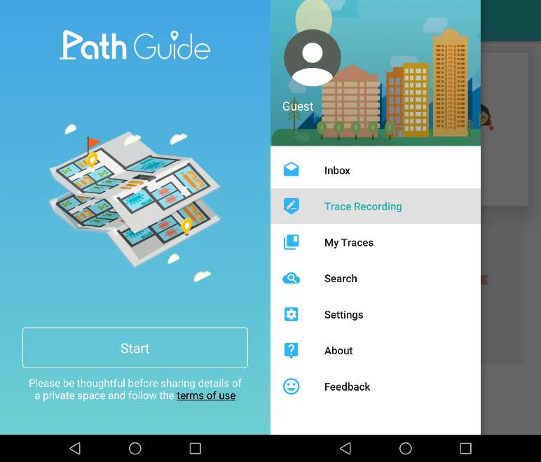 Path Guide home screen