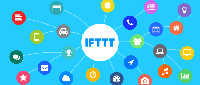 image showing IFTTT in a circle in the middle with connections made to other services.