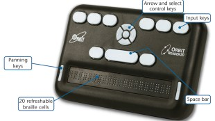 a picture of portable braille reader orbit reader 20 with descriptions for each button.
