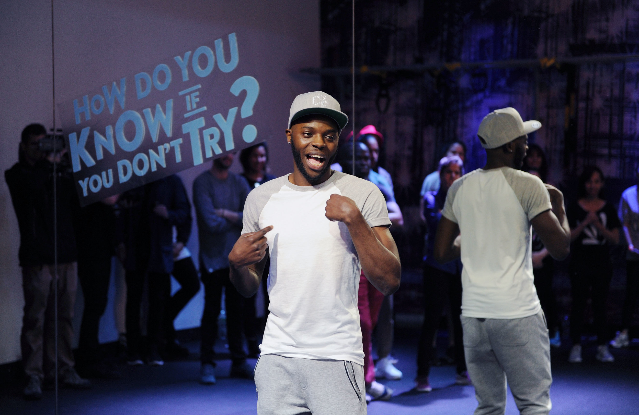 """""""Deaf Dance Instructor Christopher Fonseca, 27, Teaches Class To Local Deaf Community Members As Part Of His Global Tour As Part Of The New Smirnoff ICE Electric Flavors """"Keep It Moving"""" Campaign On Tuesday May 3, 2016 In New York, NY."""""""