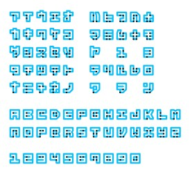 Braille neue typeface letters shown in japanese, english and numbers.