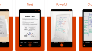 image showing the office lens app taking photos of documents and whiteboards and converting them to electronic formats.