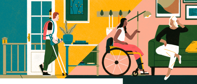 An image depicting a person in a wheelchair, a person with crutches, and a person sitting on a sofa inside a house, basically highlighting people with disabilities staying at an airbnb location.