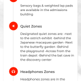Details of a listed sensory location: Blank Park Zoo in Des Moines, IA. This screen lists features available at this location, namely, sensory bags, quiet zones and their locations, and headphone zones and their locations