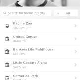 List of Sensory Inclusive Locations in the app. Shows the name of the location and distance from current location in miles.