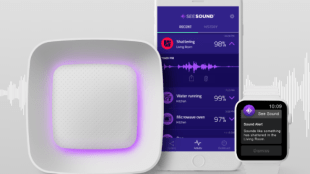 image shows the see sound device along with the see sound app on an iphone and the apple watch