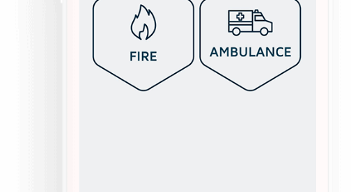 Rescu app screen shows three buttons - police, fire and ambulance.