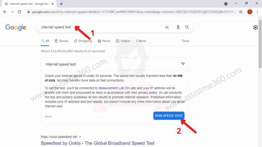 steps to run internet speed test