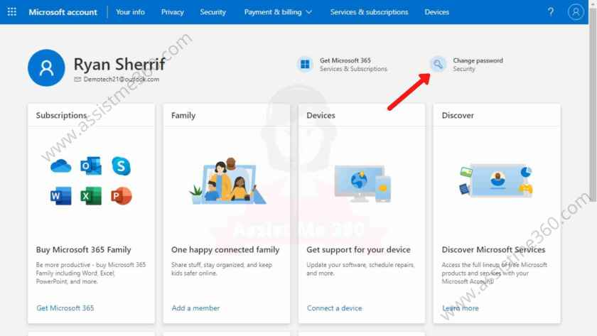 Steps to change password on Outlook (5)