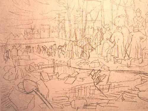 """Dessin N°84 de Boris Taslitzky : """"Fondations de la nouvelle maison du Commandant, après le bombardement du 24 août 1944"""""""