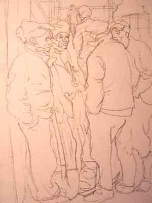 """Dessin N°68 de Boris Taslitzky : """"Le travail pendant que le SS regarde ailleurs"""""""