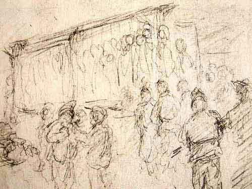 """Dessin de Léon Delarbre :""""Scène de pendaison. Premier croquis pris immédiatement. Dora - 21 mars 1945"""""""
