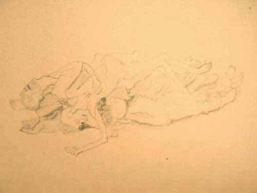 """Dessin N°92 de Paul Goyard : """"Amoncellement de cadavres"""""""
