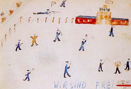 """Dessin de Thomas Geve, enfant de Buchenwald, réalisé à sa sortie du camp : """"wir sind frei """" (nous sommes libres) - 11 avril 1945"""