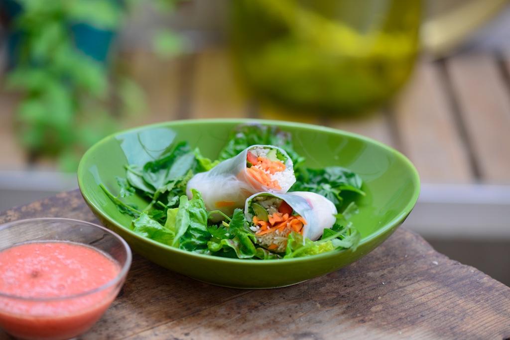 Recette au Vitaliseur de Marion : rouleaux de printemps aux légumes, sauce tomate crue !