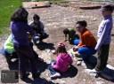 Découverte du secteur du chantier que les enfants fouilleront ce week-end.
