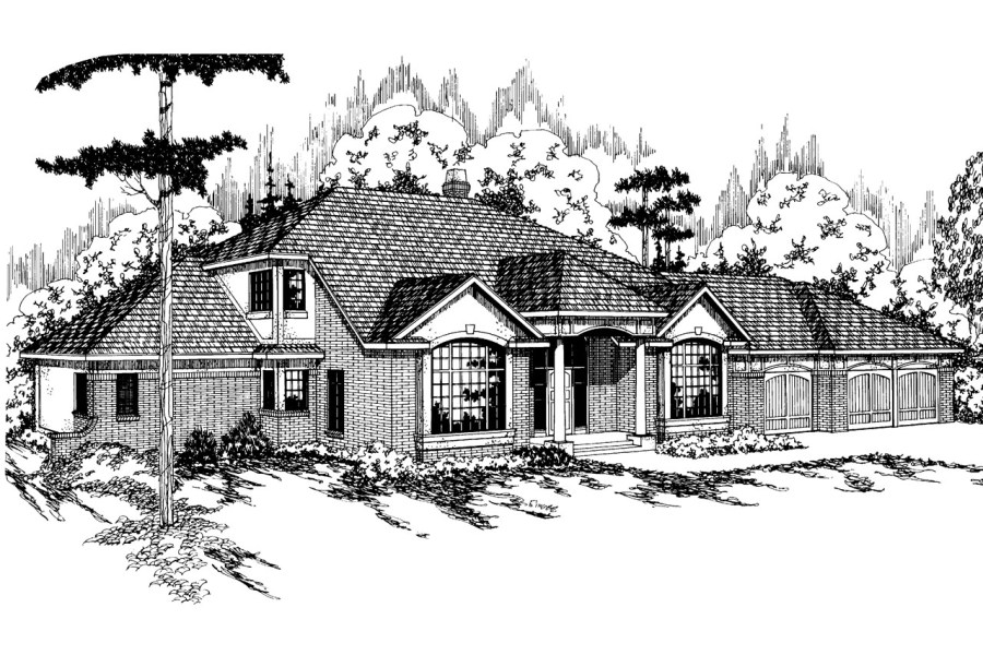 Tudor House Plans   Heritage 10 044   Associated Designs Tudor House Plan   Heritage 10 044   Front Elevation