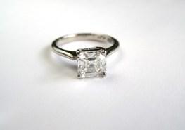 Custom asscher platinum engagement ring