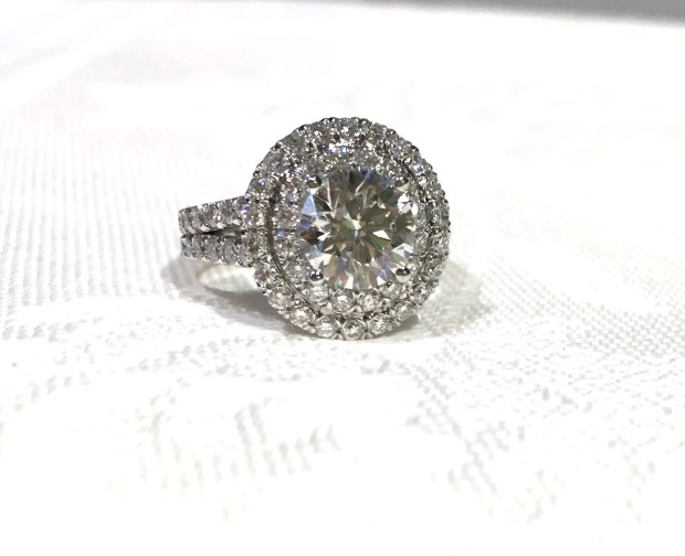 Custom Made Double Halo Diamond Ring With Split Shank