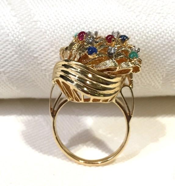 DR 2692 Gemstone Cluster Cocktail Ring