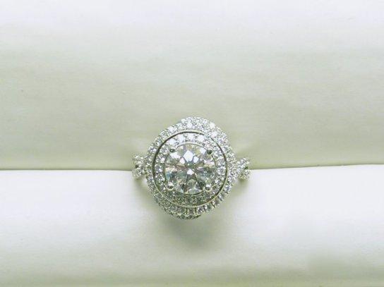 custom double swirl diamond halo engagement ring
