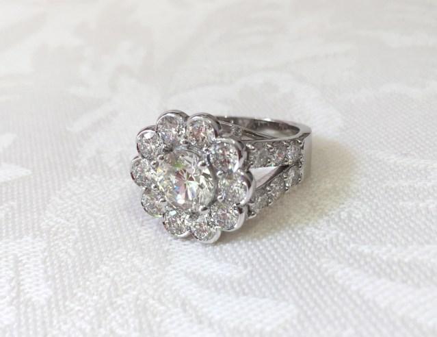 Custom Designed Diamond Flower Ring